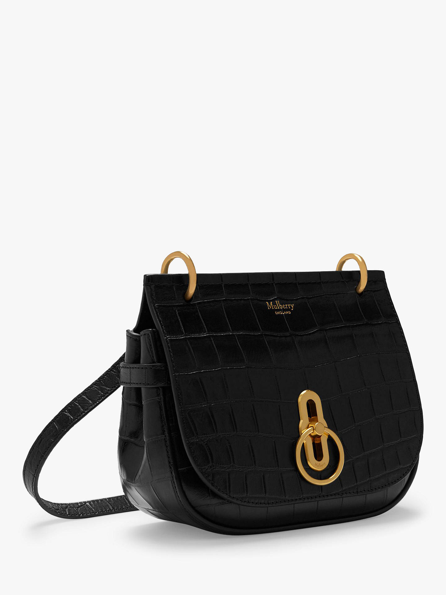 616e80cf652 ... Buy Mulberry Small Amberley Croc Embossed Leather Satchel, Black Online  at johnlewis.com ...