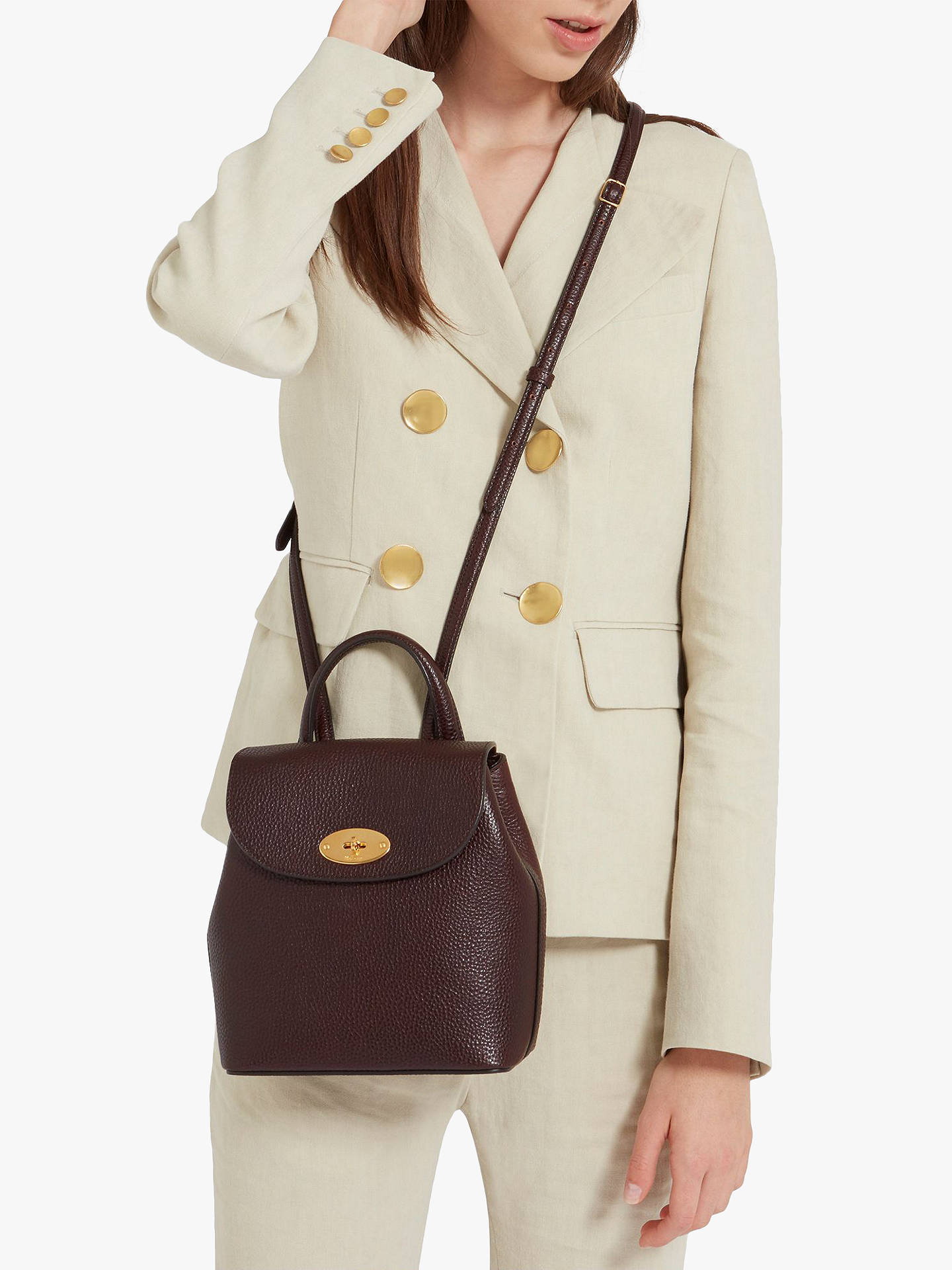 ... BuyMulberry Mini Bayswater Grain Veg Tanned Leather Backpack, Oxblood  Online at johnlewis.com ... 19560ee57f