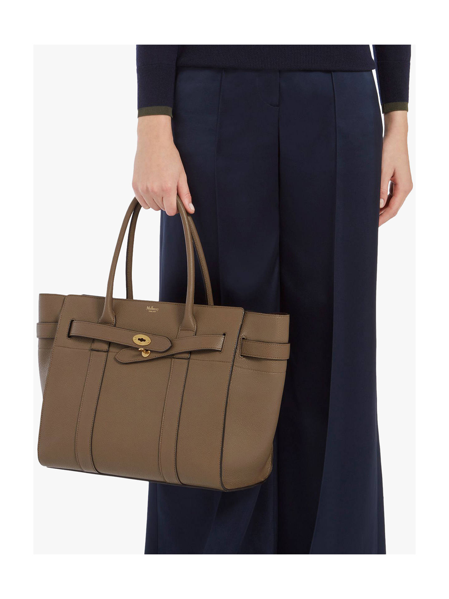... BuyMulberry Bayswater Zipped Small Classic Grain Leather Tote Bag, Clay  Online at johnlewis.com ... 67d607b6aa