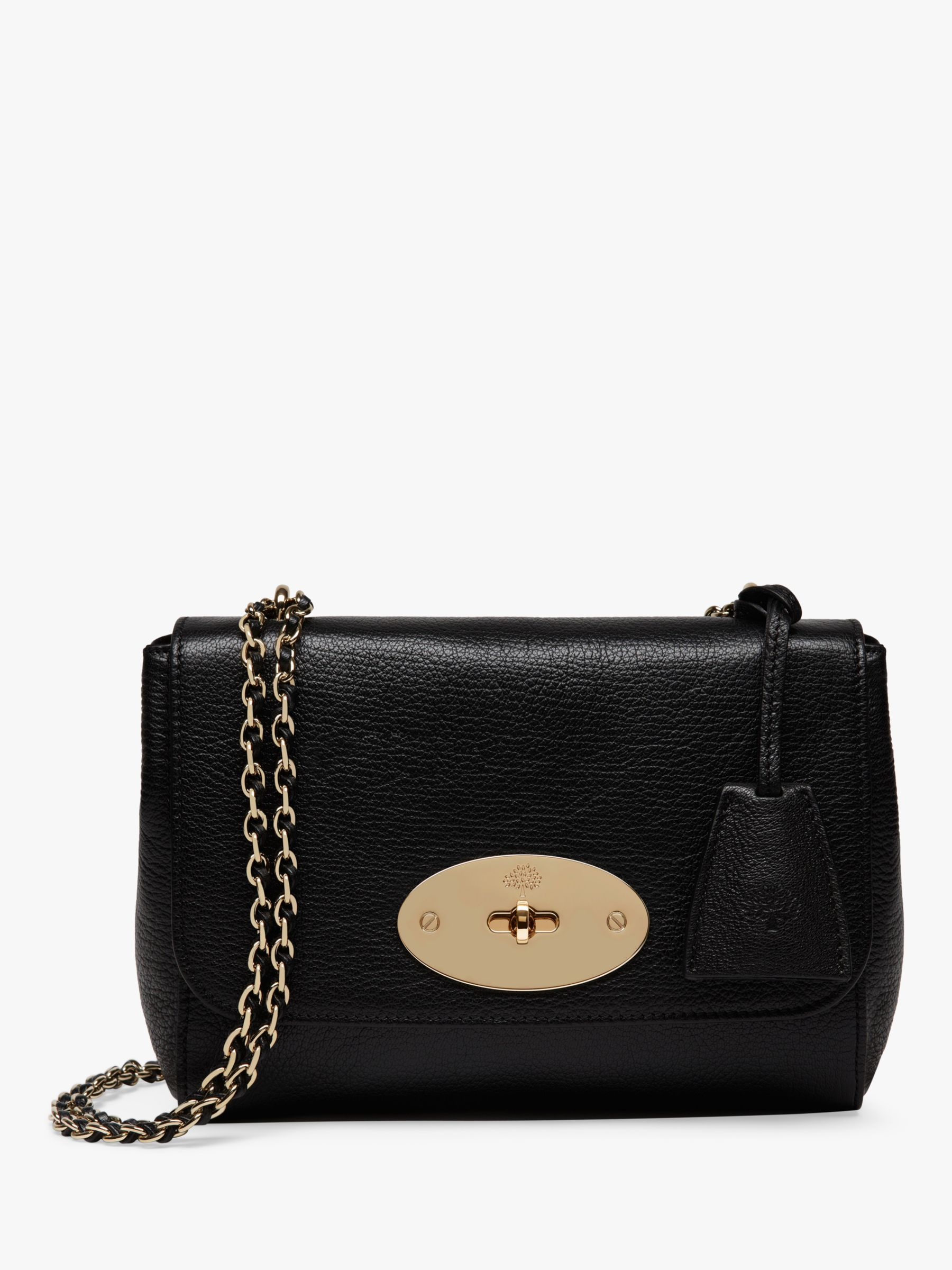 Buy Mulberry Small Lily Glossy Goat Leather Shoulder Bag, Black/Gold Online at johnlewis.com