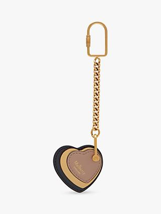 Mulberry Heart Leather Keyring, Midnight