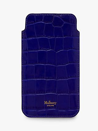 Mulberry Croc Embossed Leather iPhone Cover, Cobalt Blue
