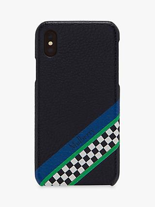 Mulberry Racing Stripes Leather iPhone Plus Case, Midnight