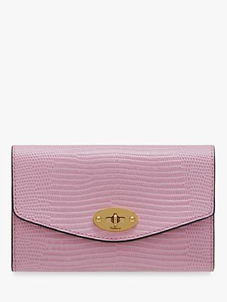 Mulberry Darley Embossed Lizard Medium Darley Wallet, Lilac Blossom