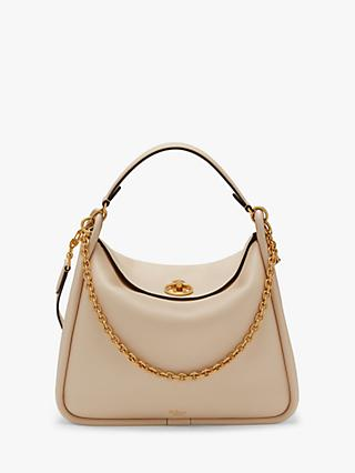 99d6406ebeb Mulberry Leighton Small Classic Grain Leather Shoulder Bag, Linen Beige