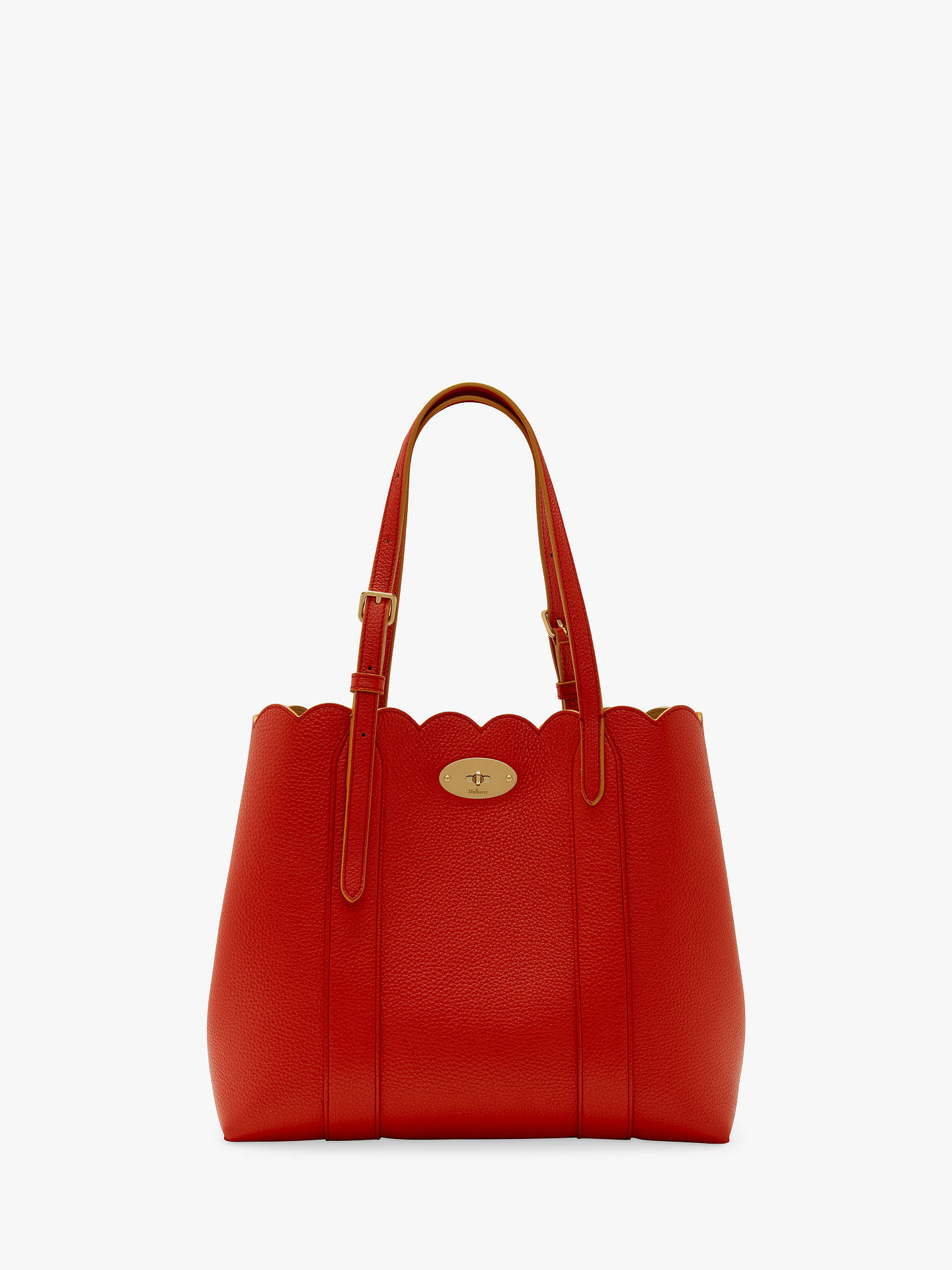 dab70710e83 BuyMulberry Scalloped Bayswater Small Classic Grain Leather Tote Bag,  Hibiscus Red Online at johnlewis.
