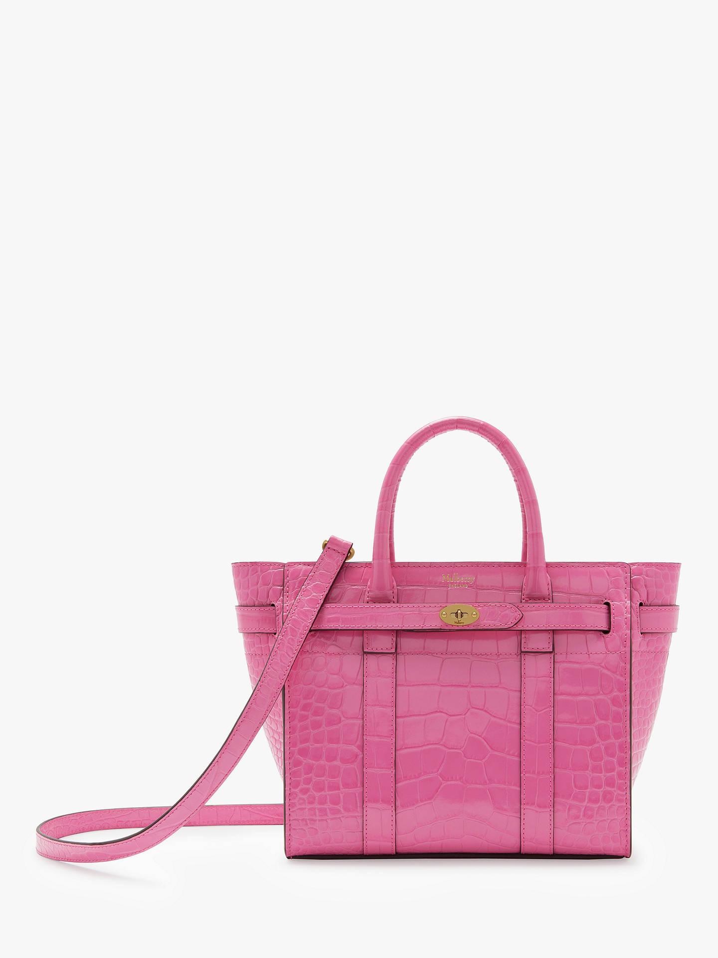 Mulberry Mini Bayswater Zipped Croc Embossed Leather Handbag ... 456f103f83ebc