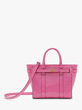Mulberry Mini Bayswater Zipped Croc Embossed Leather Handbag Raspberry Pink