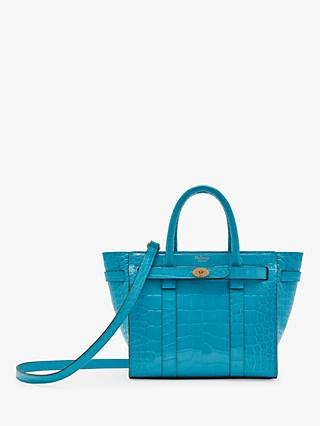 Mulberry Mini Bayswater Zipped Croc Embossed Leather Handbag, Azure c9c4117dcf