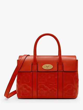 Mulberry Bayswater Silky Calf Leather Quilted Flower Small Tote Bag, Hibiscus Red