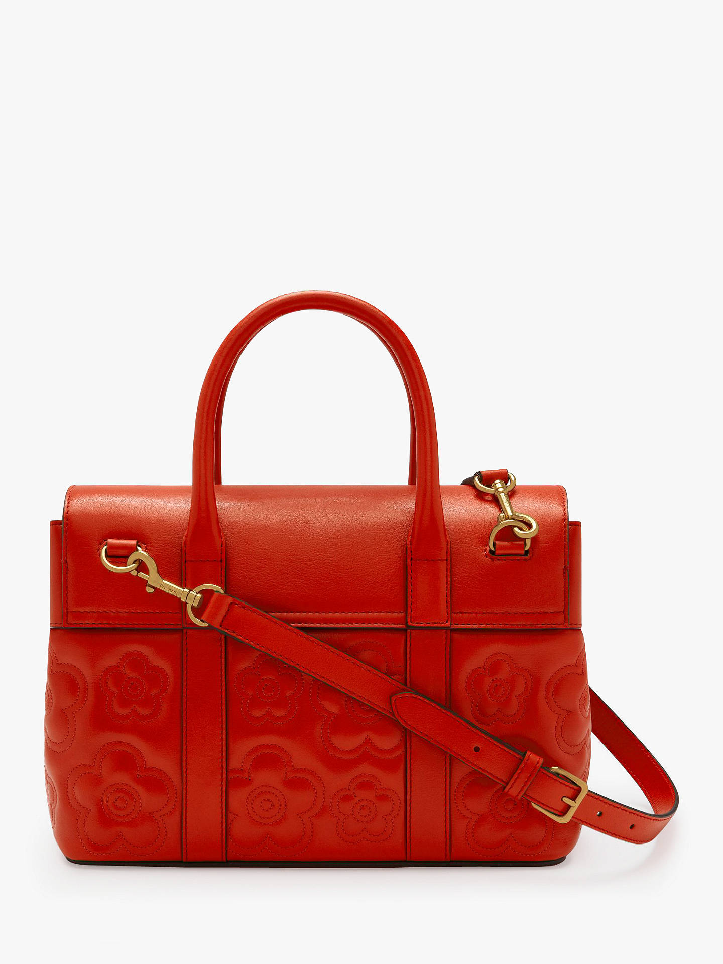 e08bb23d13 ... Buy Mulberry Bayswater Silky Calf Leather Quilted Flower Small Tote  Bag, Hibiscus Red Online at ...
