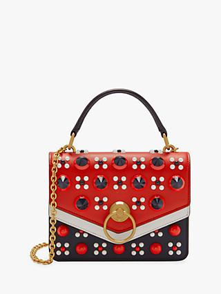 Mulberry Harlow Silky Calf Leather Geo Floral Reverse with Conic Studs Small  Satchel Bag 025562d563f2f