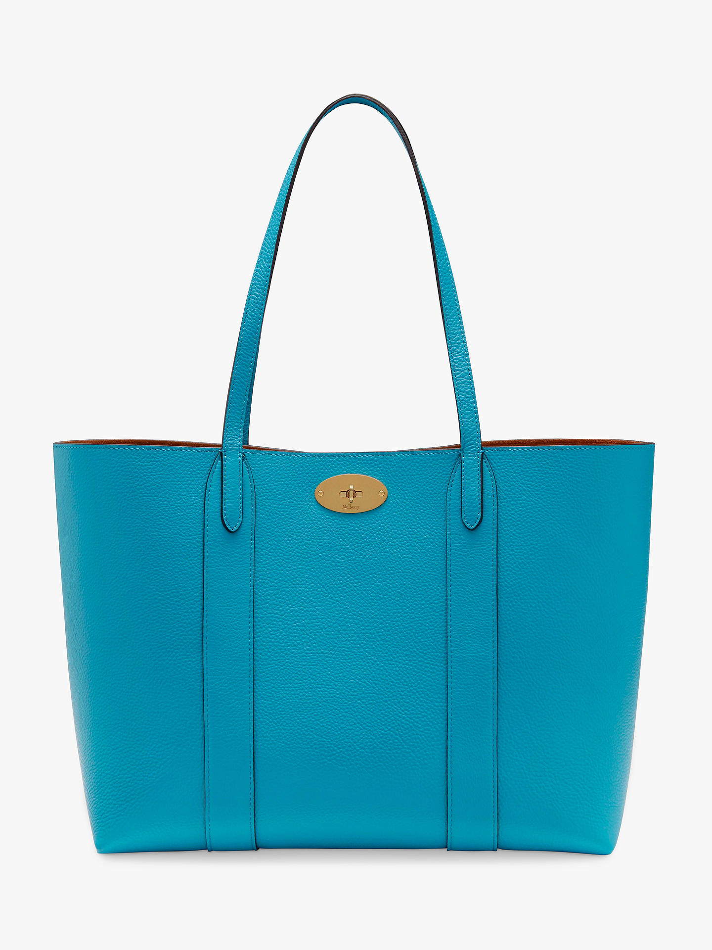 68d7e135114 BuyMulberry Bayswater Small Classic Grain Leather Tote Bag, Azure Online at  johnlewis.com ...