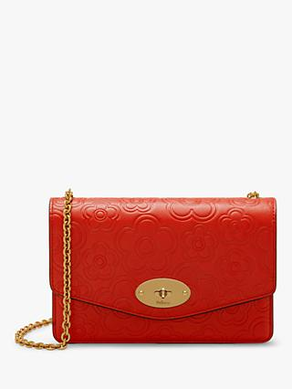 Mulberry Small Darley High Frequency Flower Leather Cross Body Bag, Hibiscus Red