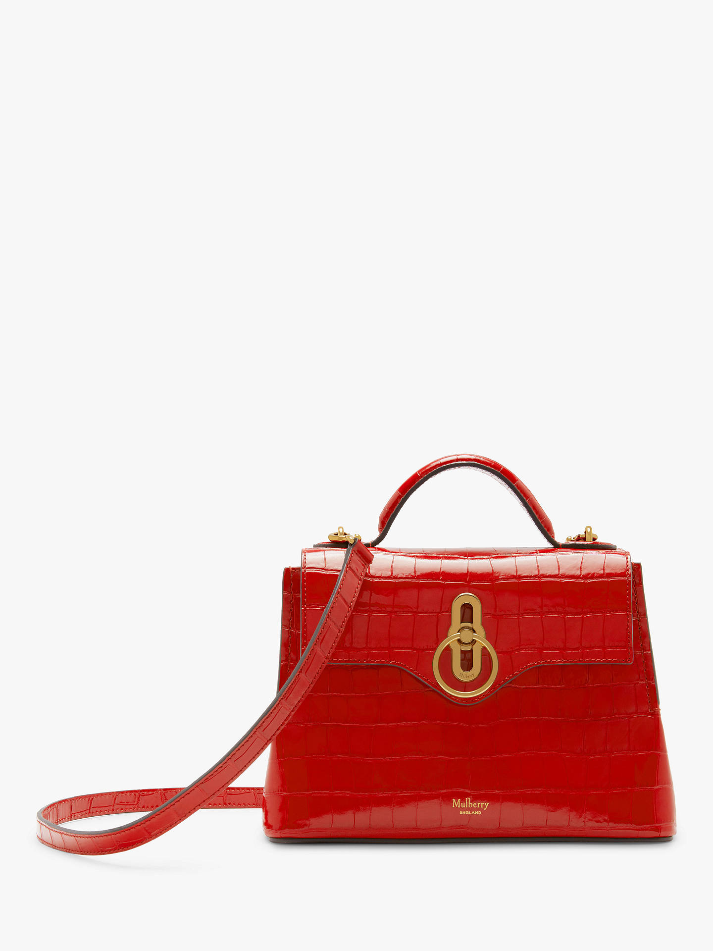 515cedd25 Buy Mulberry Mini Seaton Croc Embossed Leather Chinoiserie Shoulder Bag,  Scarlet Online at johnlewis.