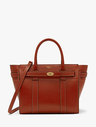Mulberry Small Bayswater Zipped Silky Calf s Leather Tote Bag, Red Ochre 698300d98b