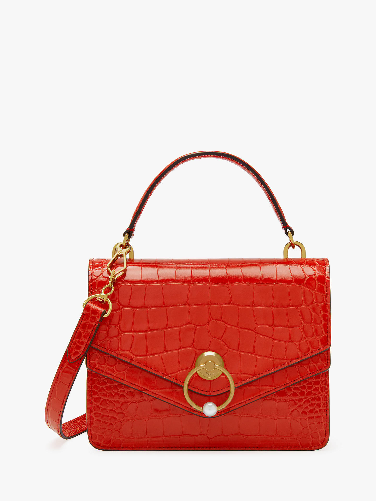 b0ee6768fe Mulberry Harlow Croc Embossed Leather Satchel Bag at John Lewis ...