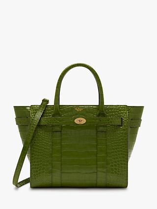 Mulberry Small Bayswater Zipped Croc Embossed Leather Bag