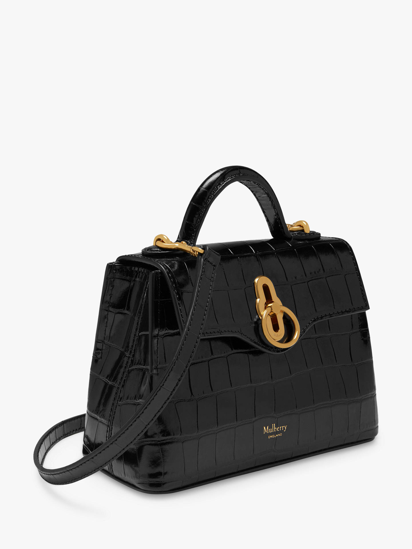 Buy Mulberry Micro Seaton Croc Embossed Leather Cross Body Bag, Black Online at johnlewis.com