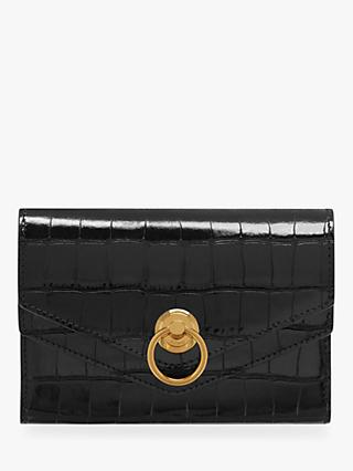 Mulberry Harlow Medium Croc Embossed Leather Wallet, Black