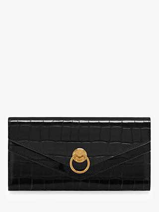 Mulberry Harlow Long Croc Embossed Leather Wallet, Black