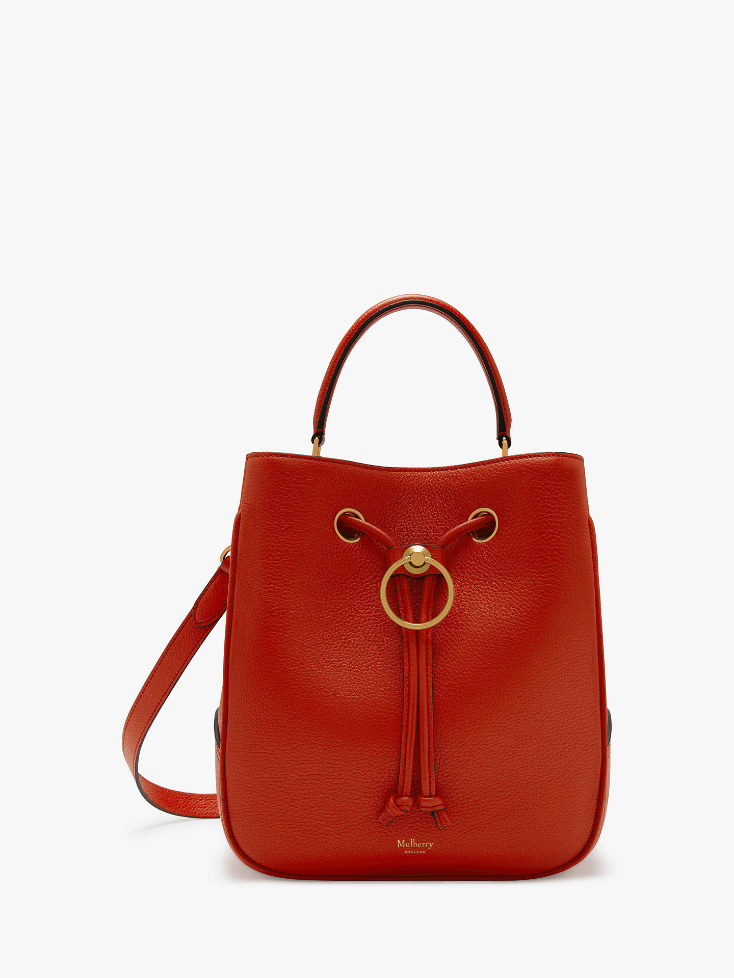 BuyMulberry Large Hampstead Classic Grain Leather Shoulder Bag, Hibiscus  Red Online at johnlewis.com ... c03ea0b3b3