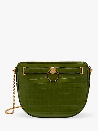 Mulberry Brockwell Croc Embossed Leather Satchel Bag
