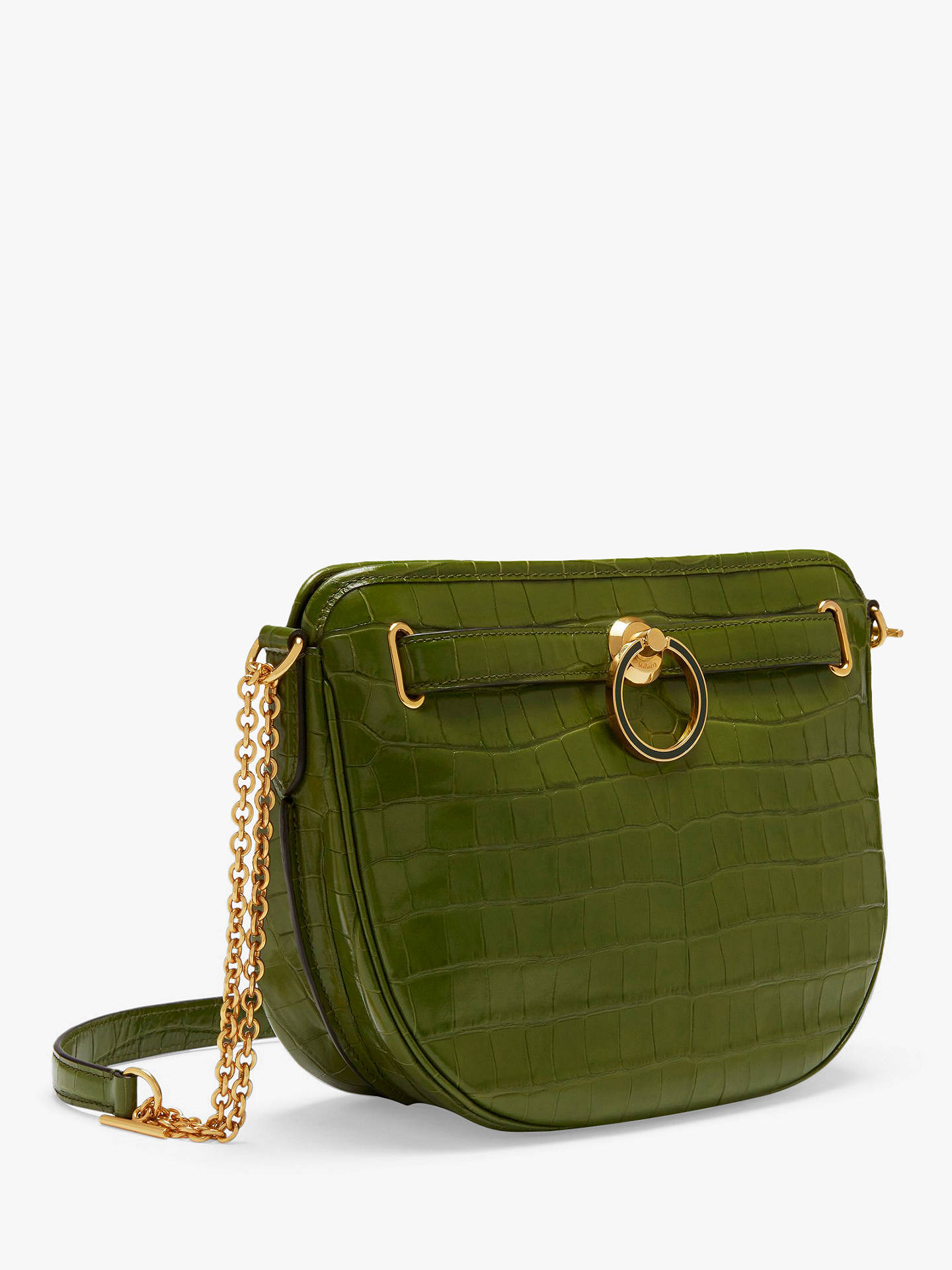Buy Mulberry Brockwell Croc Embossed Leather Satchel Bag, Dark Olive Online at johnlewis.com