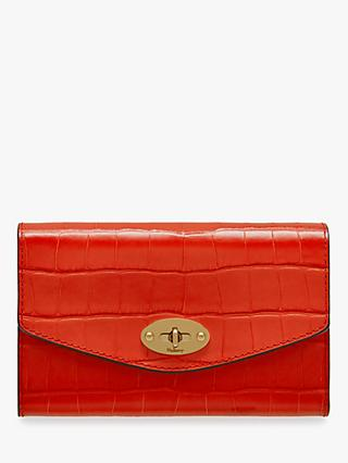 Mulberry Darley Croc Print Medium Wallet, Hibiscus Red