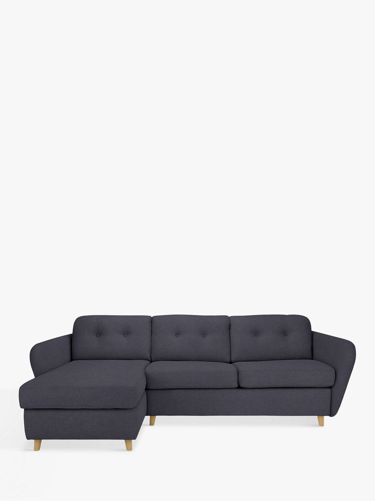 House by John Lewis Arlo LHF Chaise End Sofa Bed, Light Leg ...