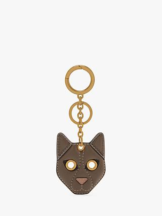 Mulberry Small Classic Grain Leather Cat Keyring, Taupe