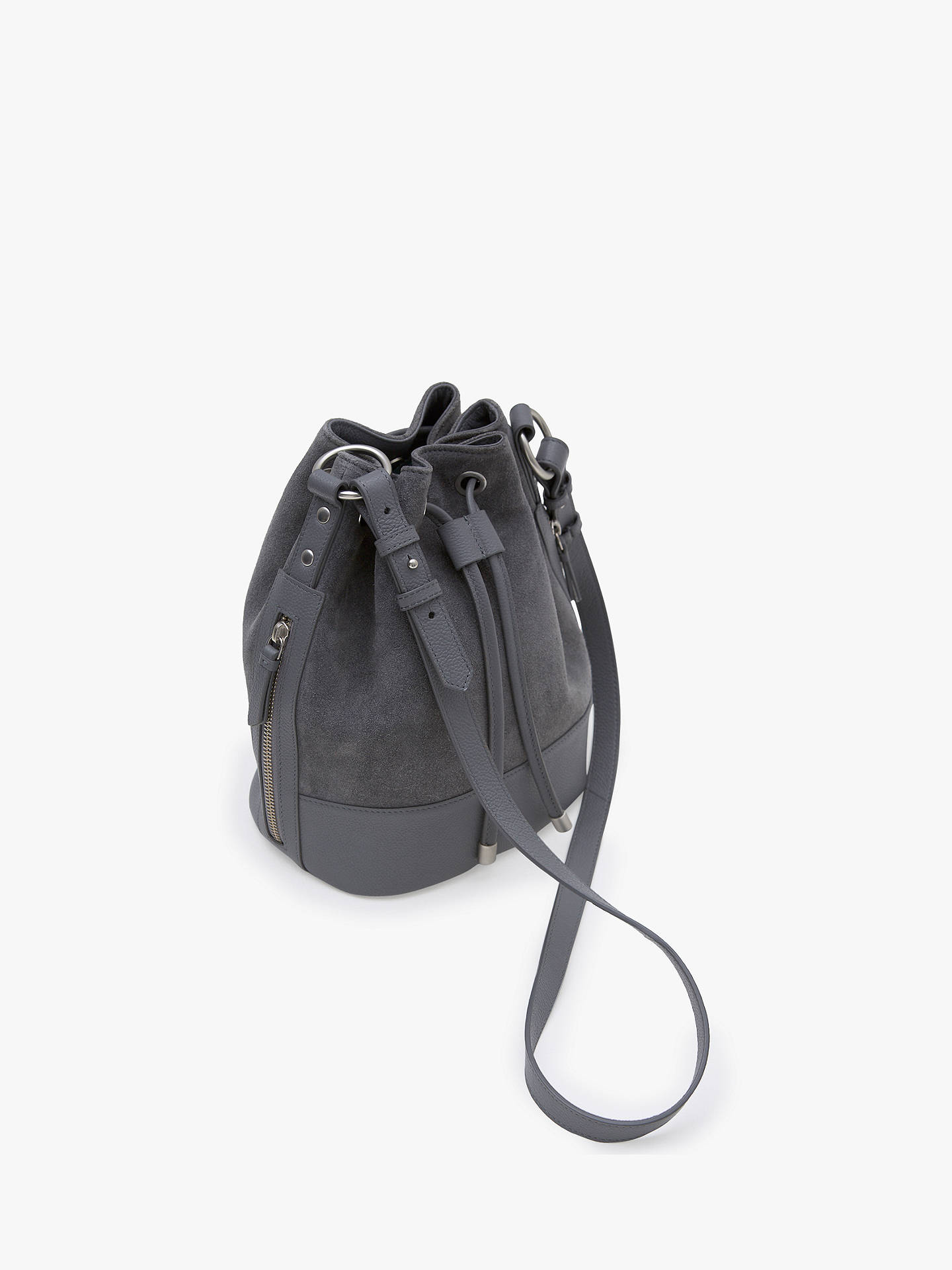 Mint Velvet Tilly Suede Bucket Bag Grey Online At Johnlewis