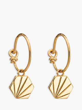 Rachel Jackson London Textured Hexagon Hoop Earrings