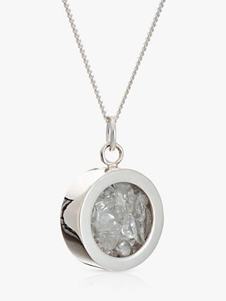 Rachel Jackson London Rock Crystal April Birthstone Necklace, Silver/Clear