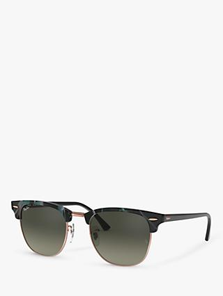 Ray-Ban RB3016 Clubmaster Square Sunglasses, Spotted Grey/Green