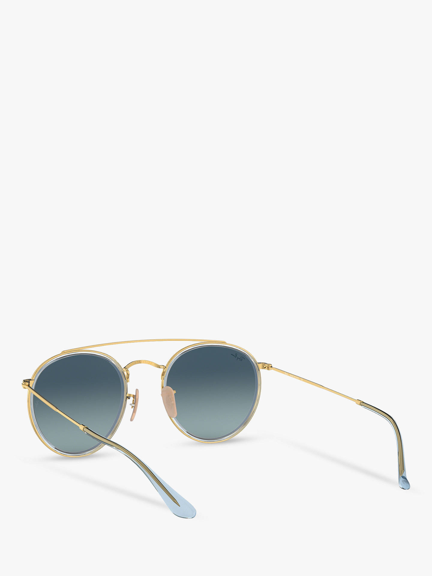 BuyRay-Ban RB3647N Unisex Double Bridge Oval Sunglasses, Gold/Grey Blue Gradient Online at johnlewis.com