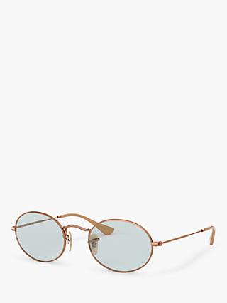 Ray-Ban RB3547N Women's Oval Sunglasses, Copper/Grey Blue