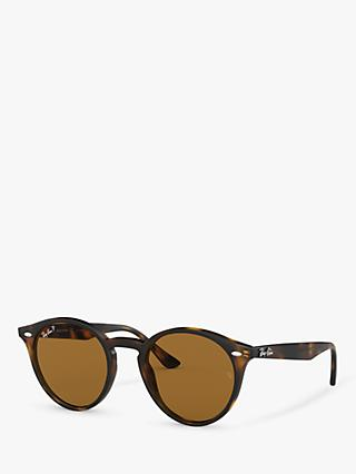 Ray-Ban RB2180 Men's Round Framed Sunglasses, Shiny Dark Havana