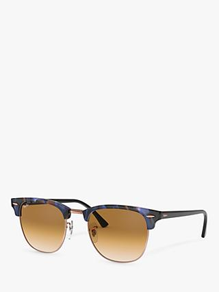 Ray-Ban RB3016 Men's Classic Clubmaster Sunglasses, Spotted Blue/Brown Gradient