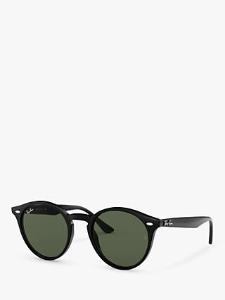 Ray-Ban RB2180 Men's Round Framed Sunglasses, Black/Grey Gradient