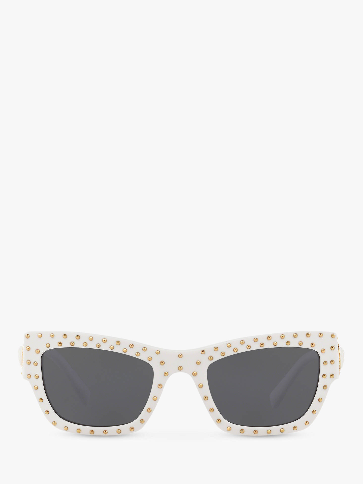 Buy Versace VE4358 Women's Rectangular Sunglasses, White/Grey Online at johnlewis.com