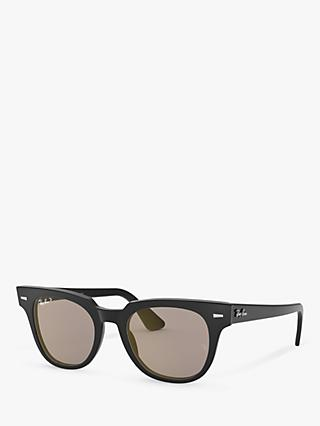 Ray-Ban RB2168 Unisex Polarised Square Sunglasses, Black/Brown Mirror