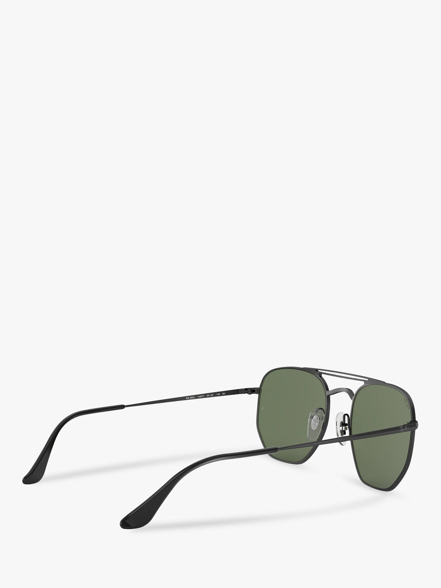 BuyRay-Ban RB3609 Unisex Square Sunglasses, Gloss Black/Green Online at johnlewis.com