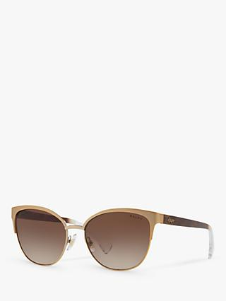 Polo Ralph Lauren RA4127 Women's Butterfly Sunglasses, Rose Gold/Brown Gradient