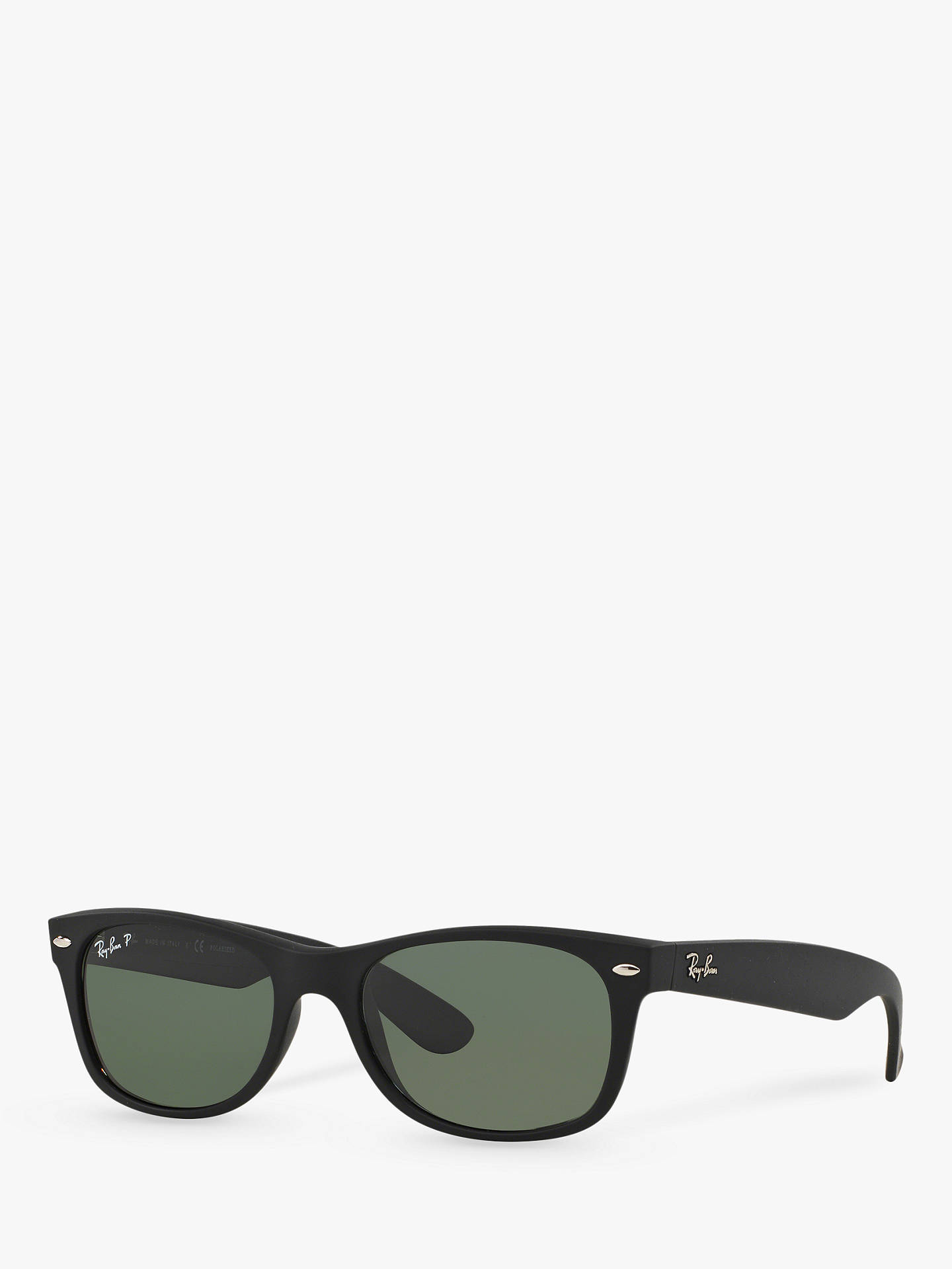 39ea02d8e Buy Ray-Ban RB2132 Men's New Wayfarer Polarised Sunglasses, Rubber  Black/Green Online ...