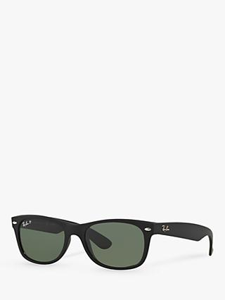 Ray-Ban RB2132 Men's New Wayfarer Polarised Sunglasses, Rubber Black/Green