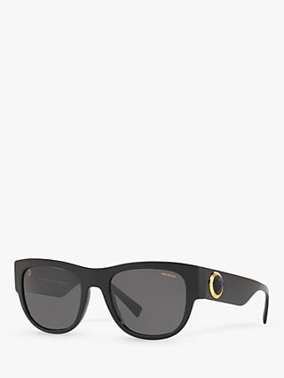 Versace VE4359 Women's Polarised Oval Sunglasses, Black
