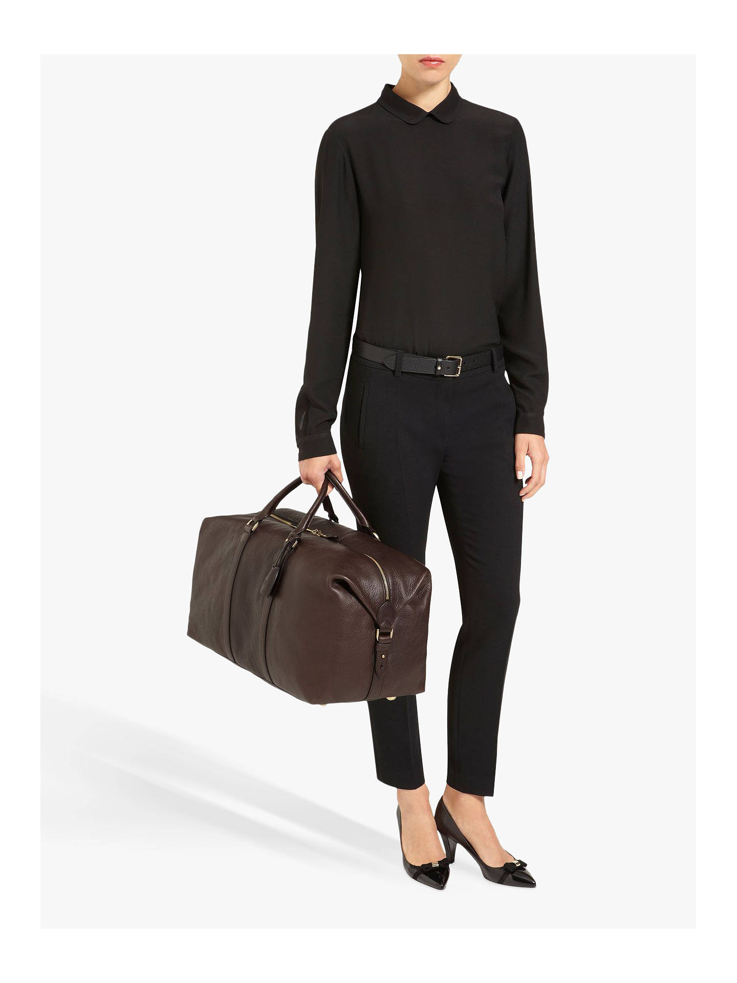 8a906783c ... Buy Mulberry Medium Clipper Natural Veg Tanned Leather Holdall,  Chocolate Online at johnlewis.com