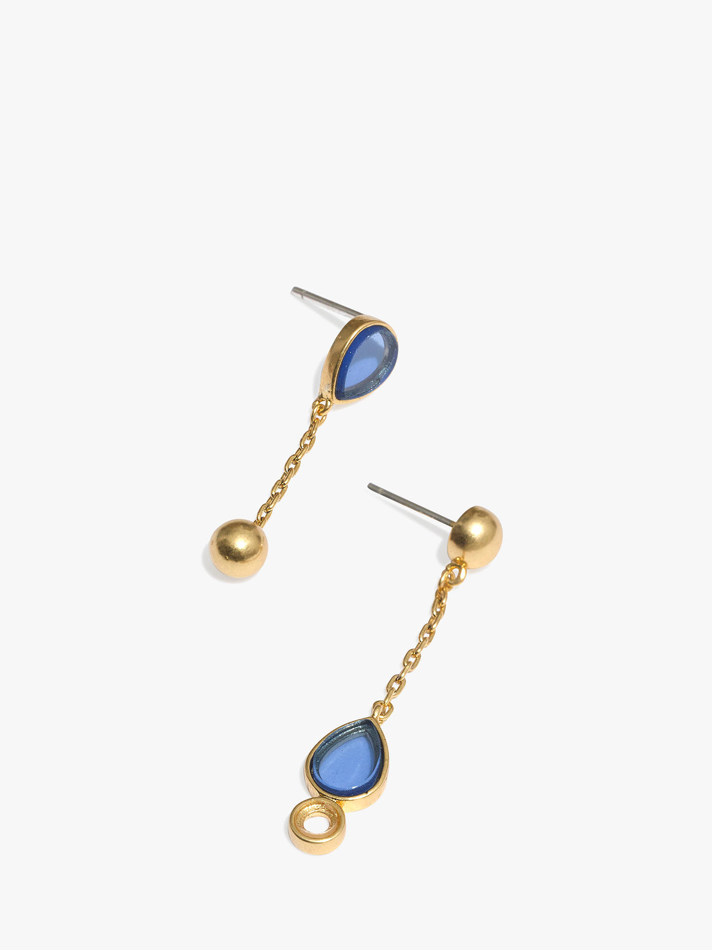 83555e56e Buy Madewell Teardrop Glass Crystal Drop Chain Earrings, Gold/Blue Online  at johnlewis.