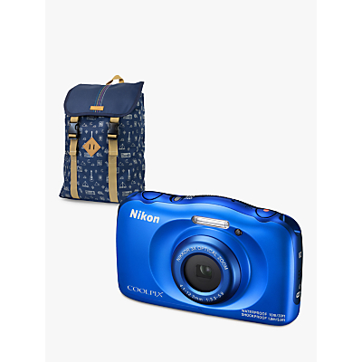Image of Nikon COOLPIX W100 Waterproof Digital Camera, 13.2MP, HD 1080p, 3x Optical Zoom, Bluetooth & 2.7 LCD Screen with Backpack, Blue